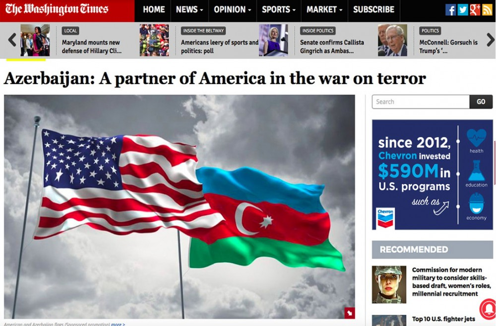 """""""Vaşinqton Tayms"""": Azərbaycan terrorizmə qarşı mübarizədə ABŞ-ın tərəfdaşıdır"""