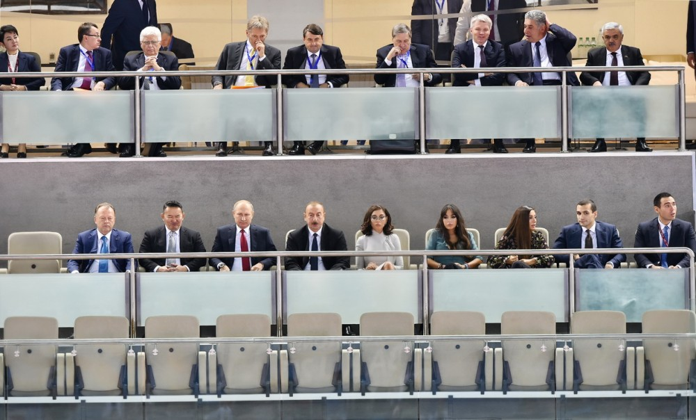 Azərbaycan, Rusiya və Monqolustan prezidentləri cüdo üzrə dünya çempionatının qarışıq komanda yarışlarına baxırlar