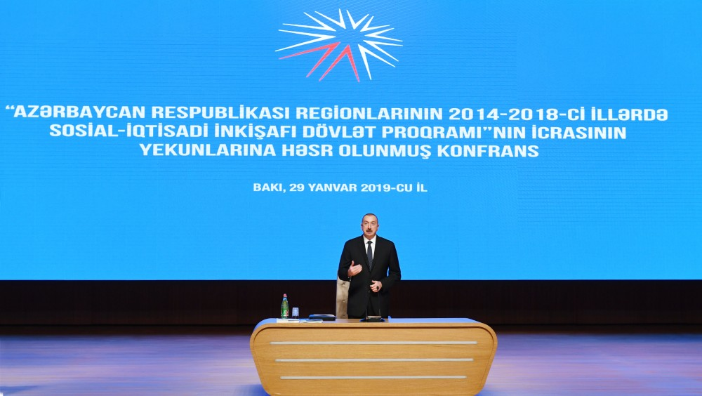 President Ilham Aliyev attended conference dedicated to results of implementation of the State Program on socio-economic development of regions in 2014-2018