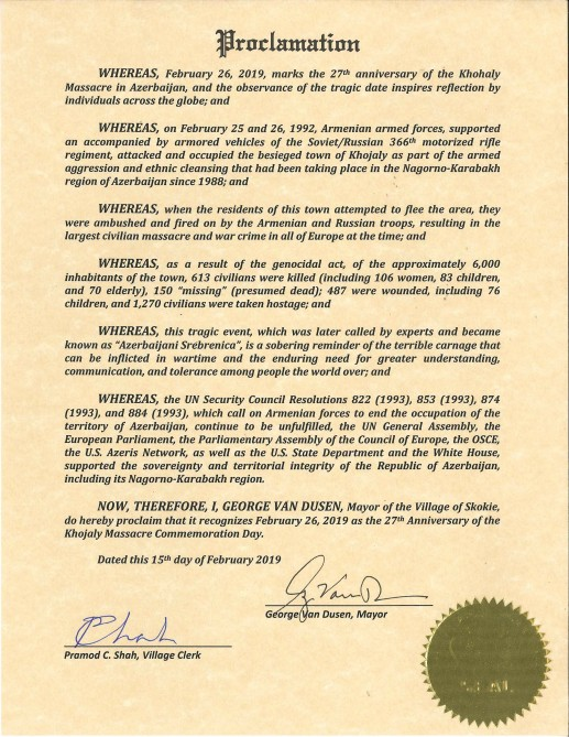 ABŞ-ın Skoki şəhərində fevralın 26-sı Xocalı Qətliamı Qurbanlarının Anım Günü elan edilib