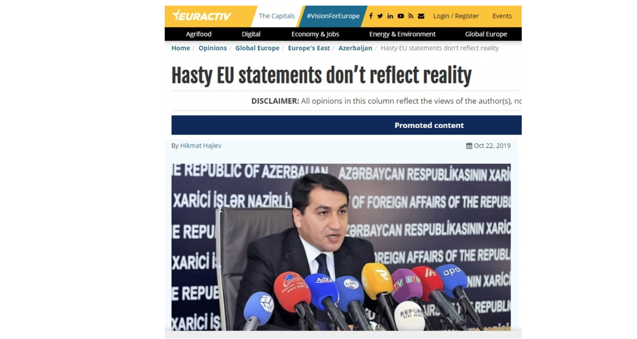 Hikmat Hajiyev: Hasty EU statements don't reflect reality